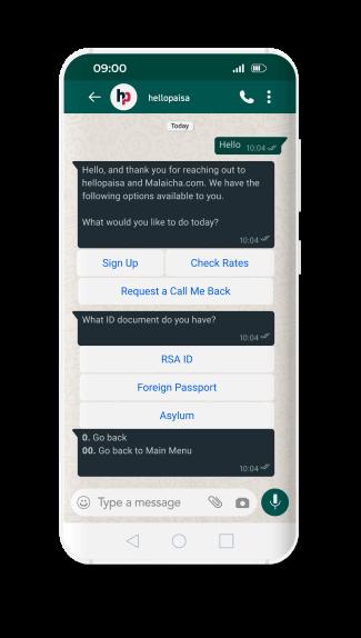 hellopaisa whatsapp step2 request signup