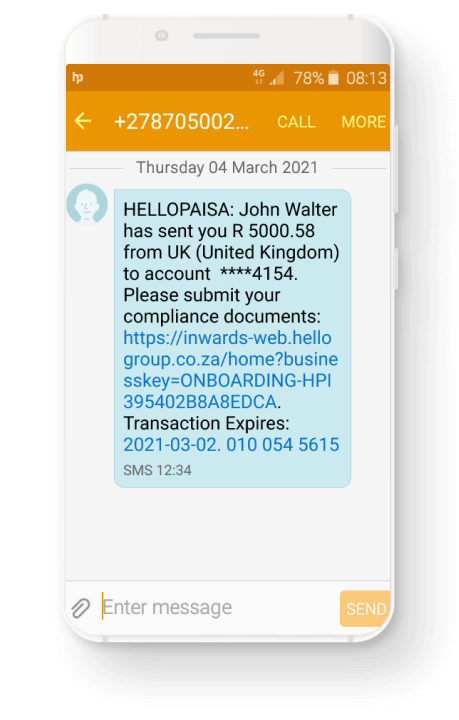 hellopaisa - Receive cash into South Africa with World Remit